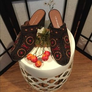 A. Marinelli Embroidered Suede Mules
